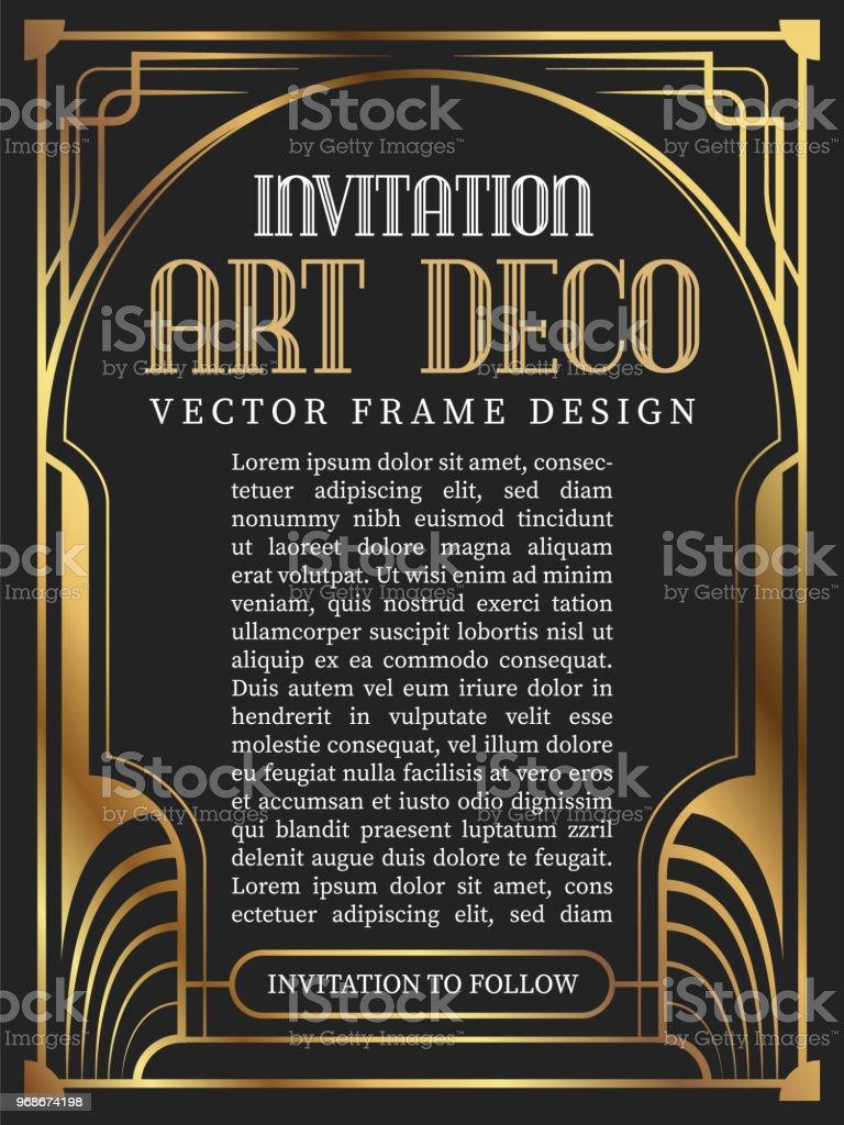 Estilo de art deco de quadro vintage de luxo. ilustração vetorial - ilustração de arte em vetor