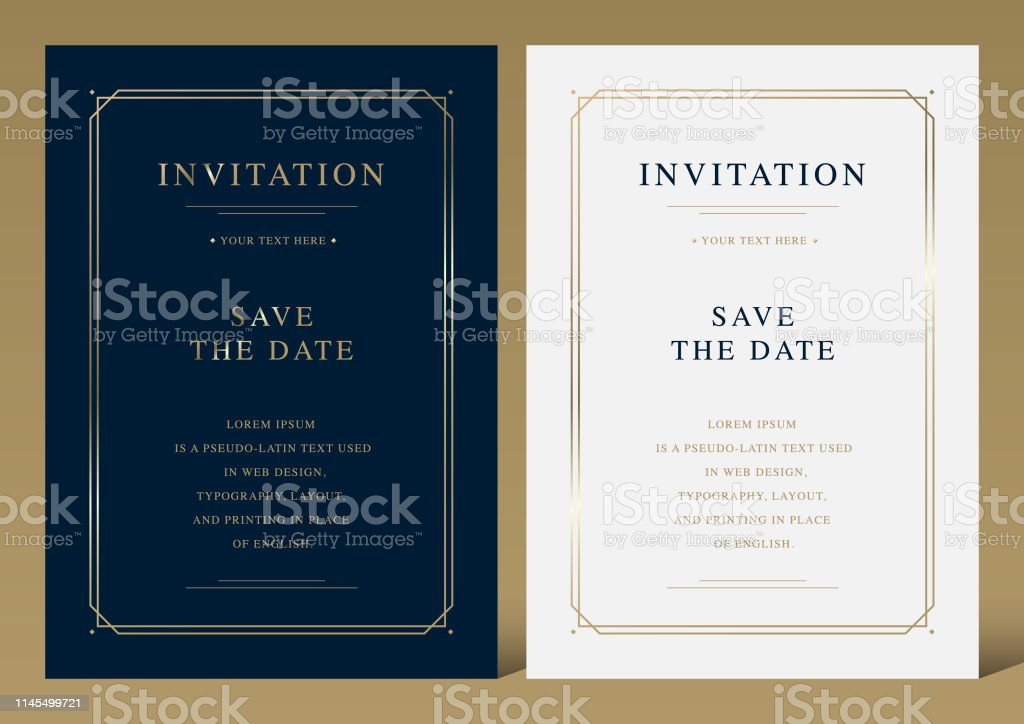 Luxury vintage golden vector invitation card template - Royalty-free Abstrato arte vetorial