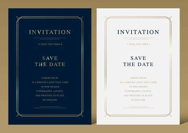 luksusowy vintage złoty szablon karty zaproszenia wektora - luksus stock illustrations