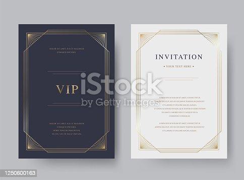 istock Luxury vintage golden vector invitation card template 1250600163