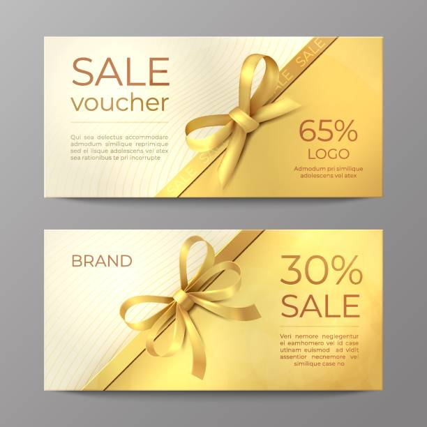 Luxury voucher card. Golden ribbon certificate, elegant celebration coupon, discount promotion flyer. Realistic vector mockup Luxury voucher card. Golden ribbon certificate, elegant celebration coupon, discount promotion flyer. Realistic vector sale mockup tickets and vouchers templates stock illustrations