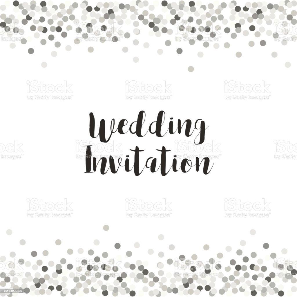 Luxury wedding card template with silver glitter confetti vector art illustration