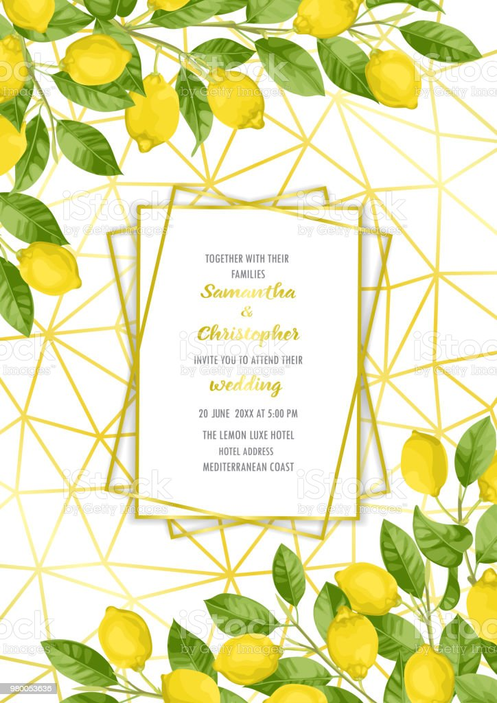 invitation template place for text Watercolor lemon square frame