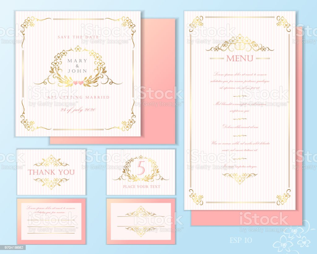 Luxury Wedding Invitation Cards Set Of Vector Design