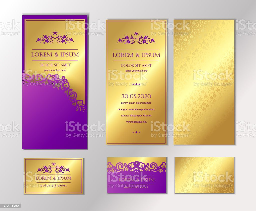 Luxury Wedding Invitation Cards With Gold Texture Set Of