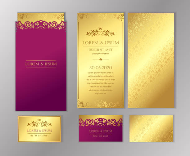 Luxury wedding invitation cards with gold texture. Set of vector design templates. Luxury wedding invitation cards with gold texture. Set of vector design templates. anniversary borders stock illustrations
