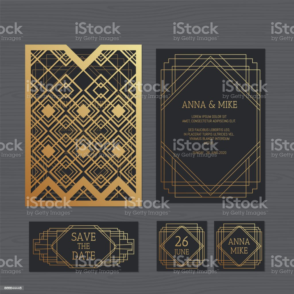 Luxury wedding invitation or greeting card with geometric ornament. Art Deco style. Paper lace envelope template. Wedding invitation envelope mock-up for laser cutting. Vector illustration.