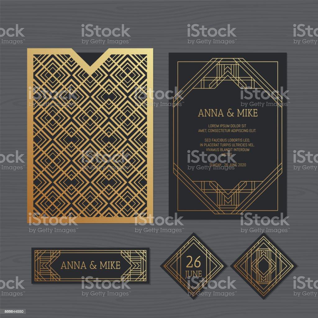 Luxus Hochzeitseinladung Oder Grußkarte Mit Geometrischen Ornamenten.  Art Deco Stil. Papierschablone Spitze