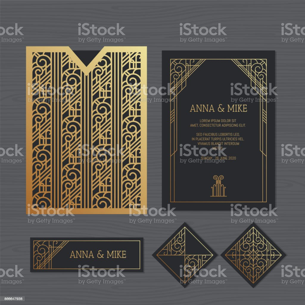 Luxury Wedding Invitation Or Greeting Card With Geometric