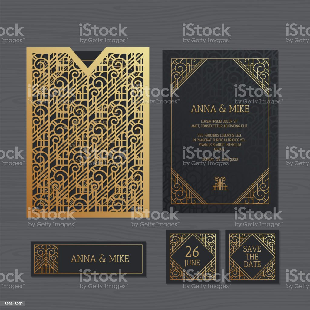 Luxury wedding invitation or greeting card with geometric ornament. Art Deco style. Paper lace envelope template. Wedding invitation envelope mock-up for laser cutting. Vector illustration. vector art illustration