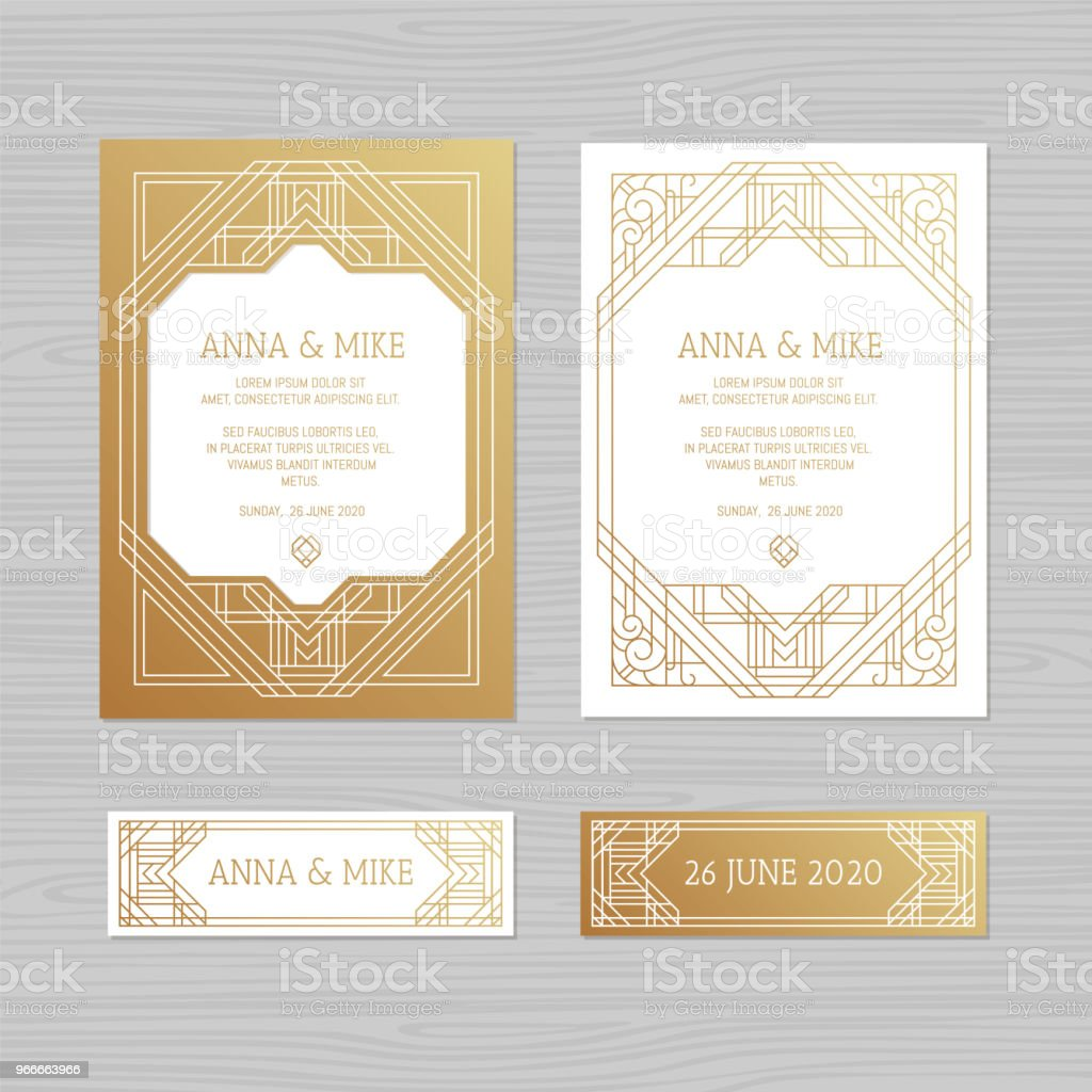 Luxury Wedding Invitation Or Greeting Card With Geometric Ornament Art Deco Style Paper Lace Envelope Template Mock Up For