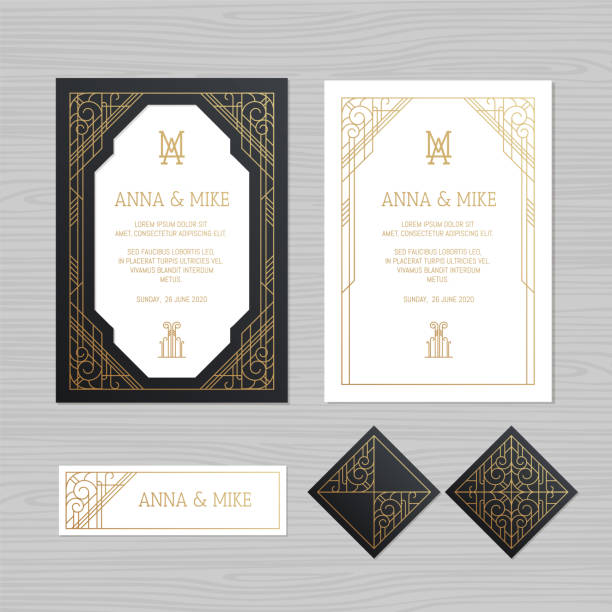 luxury wedding invitation or greeting card with geometric ornament. art deco style. paper lace envelope template. wedding invitation envelope mock-up for laser cutting. vector illustration. - 20th century stock illustrations