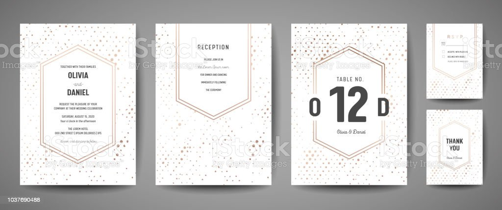 Luxury Wedding Save the Date, Invitation Cards Collection with Gold Foil Polka Dots and Monogram Logo vector design template royalty-free luxury wedding save the date invitation cards collection with gold foil polka dots and monogram logo vector design template stock illustration - download image now
