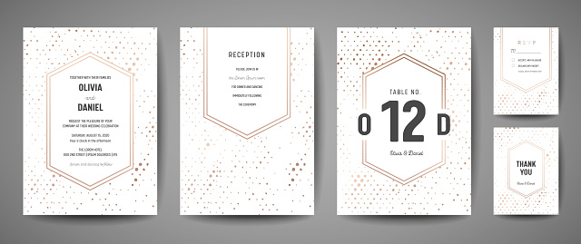 豪華婚禮保存日期 邀請卡收集與金箔圓點和字母標誌向量設計範本向量圖形及更多一組物體圖片