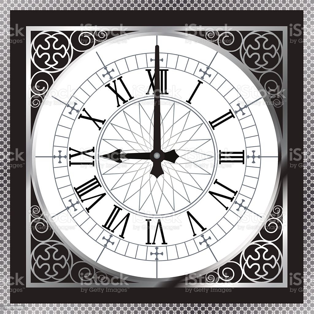 Luxury white gold metal clock with Roman numerals and pattern vector art illustration