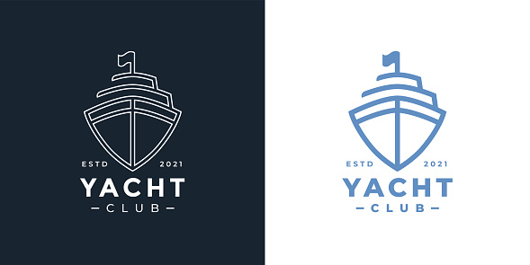 Luxury yacht club line icon