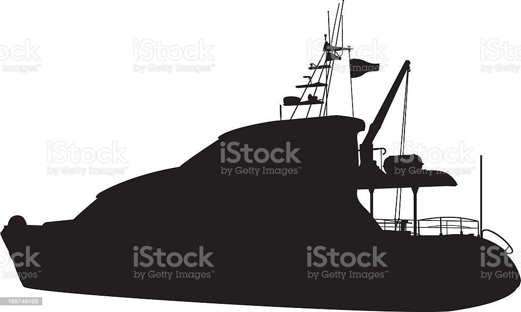 Luxury Yacht Silhouette royalty-free stock vector art