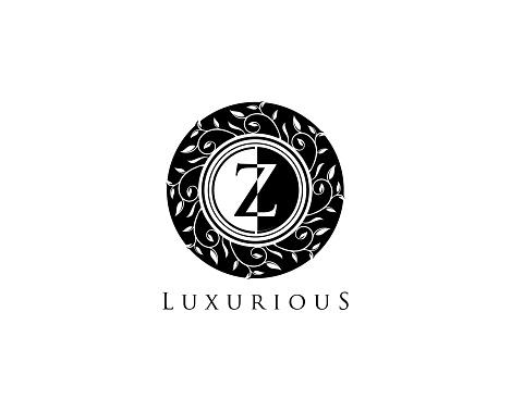 Luxury Z Letter Circle Floral Logo Design.