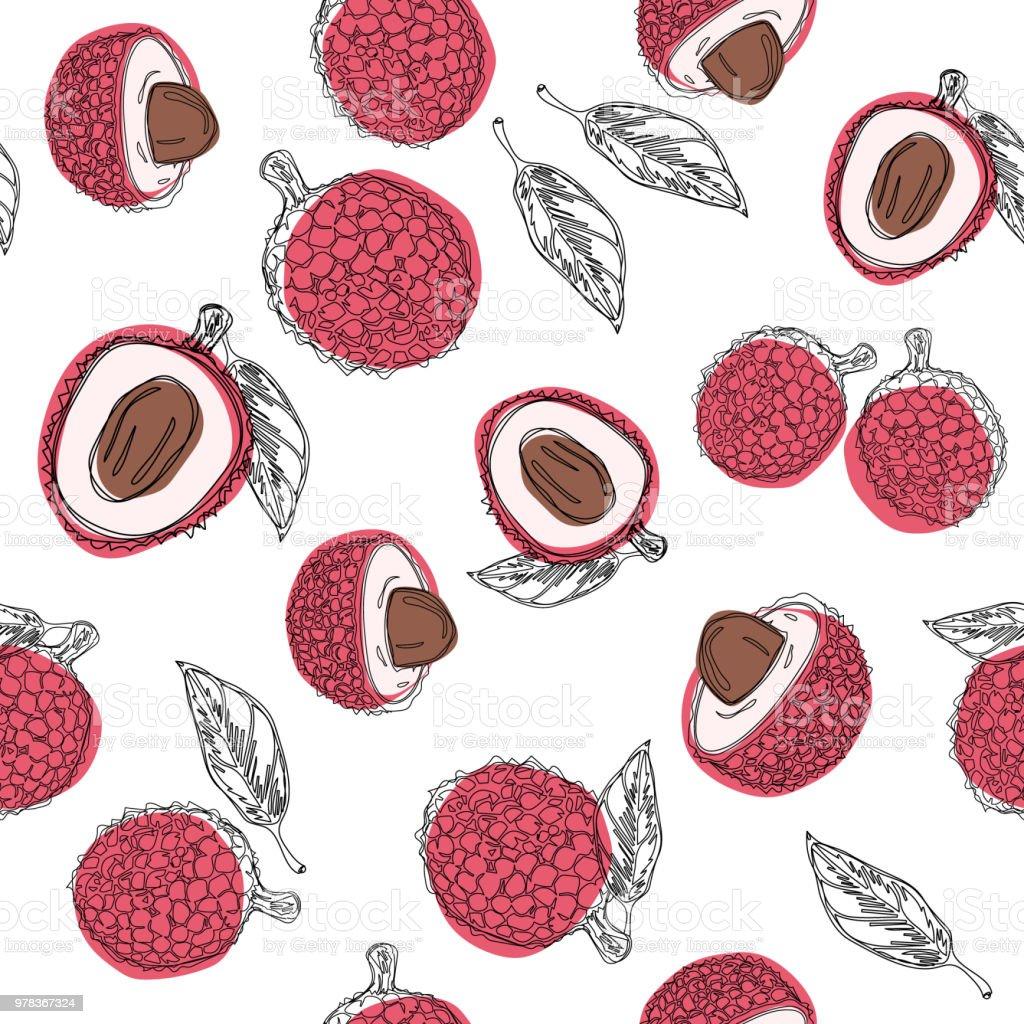 Litchi Fruits Part Dessiner Graphique Couleur Modele Sans Couture