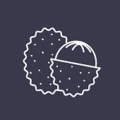 A thin line icon in a fruit theme. Lychee.