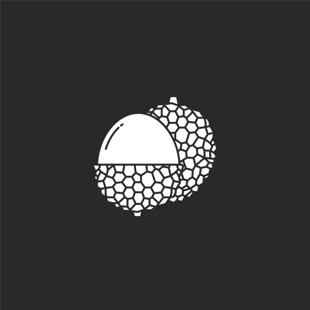Lychee icon. Filled Lychee icon for website design and mobile, app development. Lychee icon from filled fruit collection isolated on black background. Lychee icon. Filled Lychee icon for website design and mobile, app development. Lychee icon from filled fruit collection isolated on black background. avocado designs stock illustrations