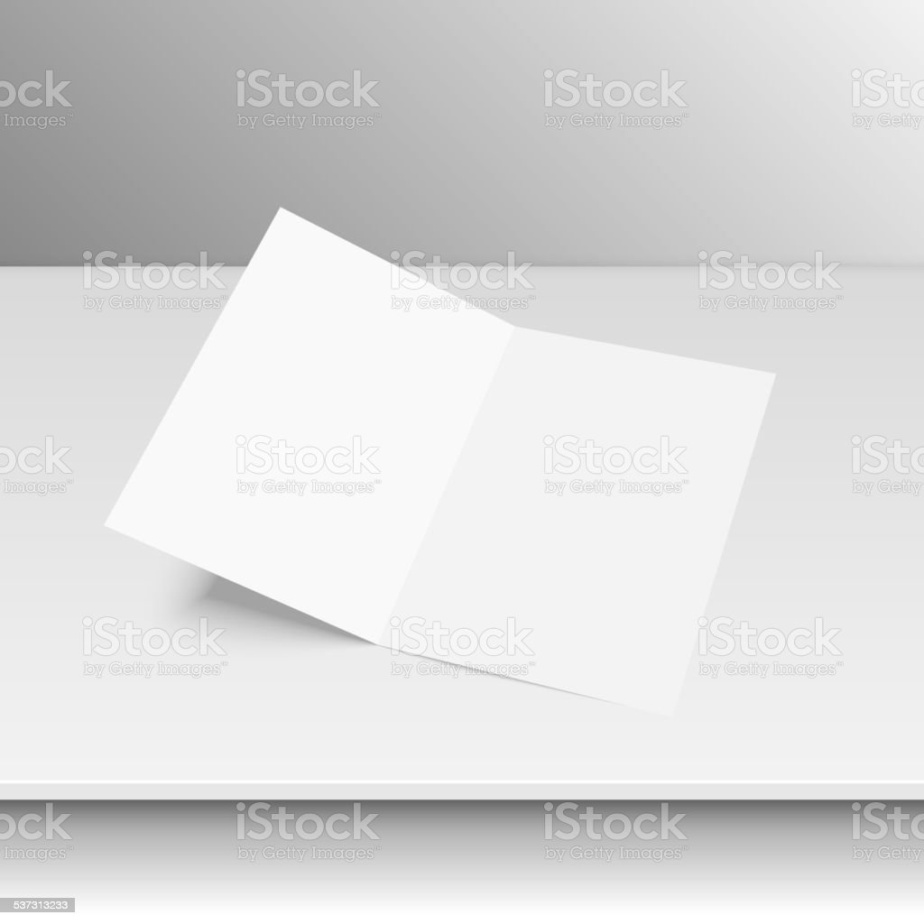 Lying blank two fold paper vector art illustration