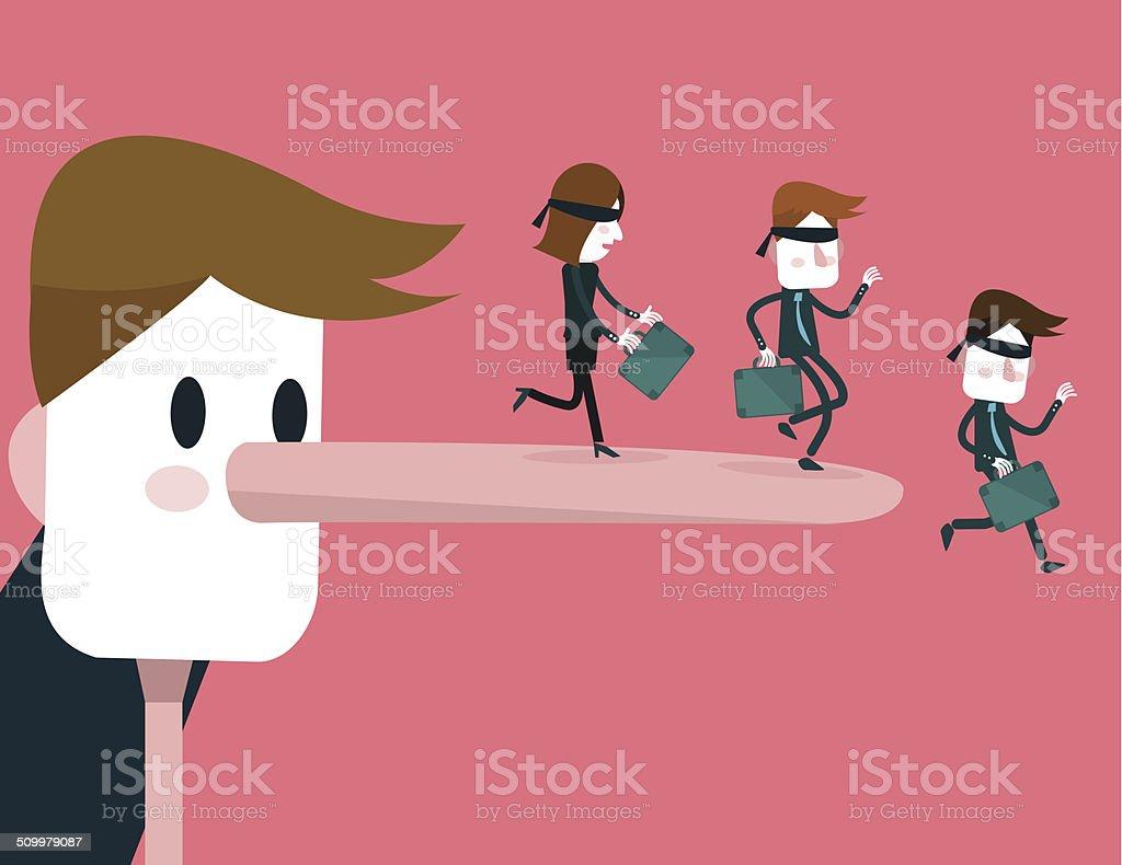 Lying businessman make people falling down. vector art illustration