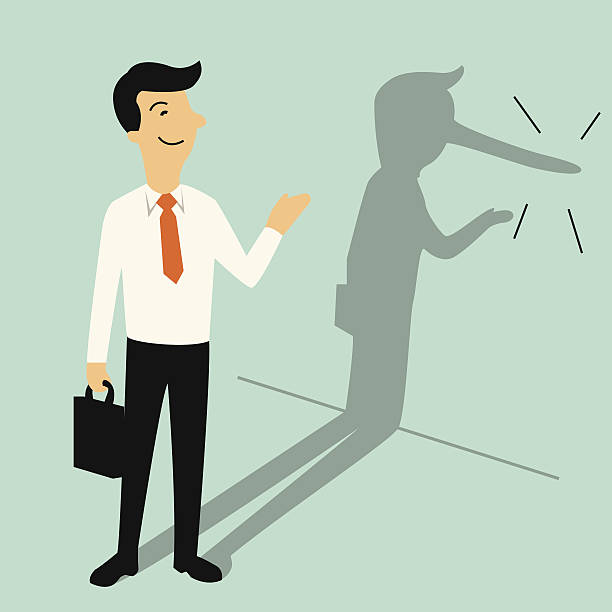 Lying businessman Smiling businessman with shadow of his long nose, metaphor to Pinocchio who is actually liar. Business concept in lair or lying businessman. dishonesty stock illustrations