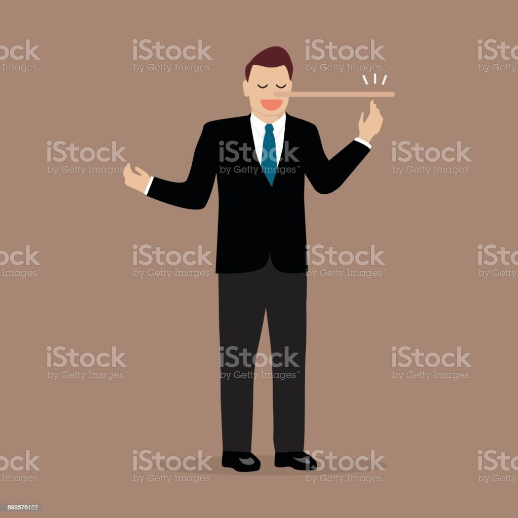 Lying businessman with long nose vector art illustration