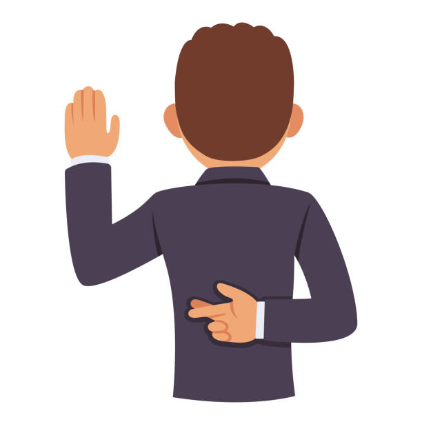 Lying corrupt politician Dishonest politician or business man raising hand in oath, other hand with crossed fingers behind back. Lying and corruption vector clip art illustration. dishonesty stock illustrations