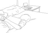 A line drawing of a woman lying in bed.