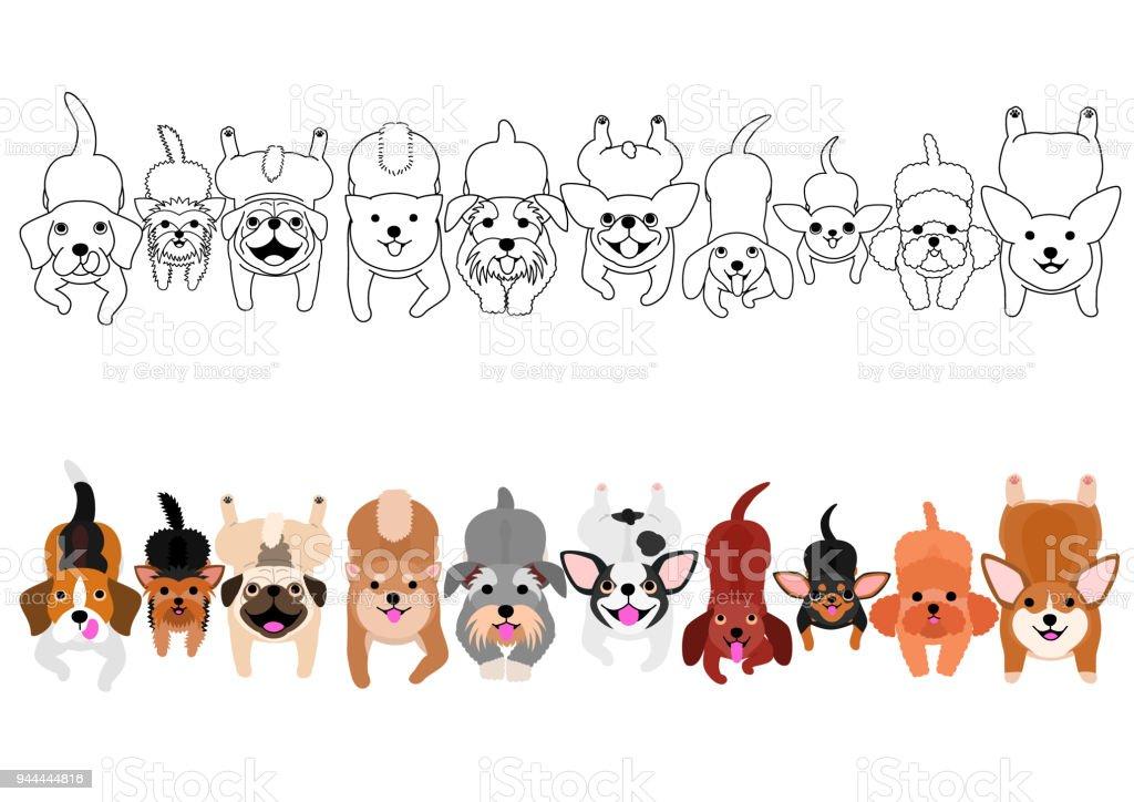 lying small dogs looking up border set vector art illustration