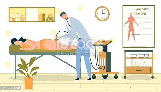 Lymphatic Drainage Massage, Cosmetic Procedure to Lose Weight. Woman Lying on Couch. Therapist Stimulating Lymph Fluid Circulation around Body with Equipment Flat Cartoon Vector Illustration.