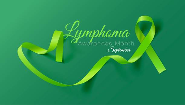 Lymphoma Awareness Calligraphy Poster Design. Realistic Lime Green Ribbon. September is Cancer Awareness Month. Vector Lymphoma Awareness Calligraphy Poster Design. Realistic Lime Green Ribbon. September is Cancer Awareness Month. Vector Illustration cancer patient stock illustrations