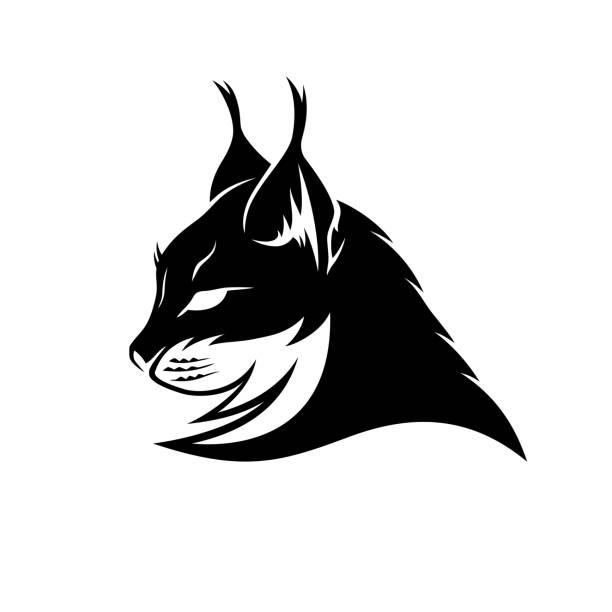 Lynx black sign. Lynx black sign mascot on a white background. bobcat stock illustrations