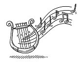 Hand-drawn vector drawing of a Lyre Music Instrument and Flying Notes. Black-and-White sketch on a transparent background (.eps-file). Included files are EPS (v10) and Hi-Res JPG.