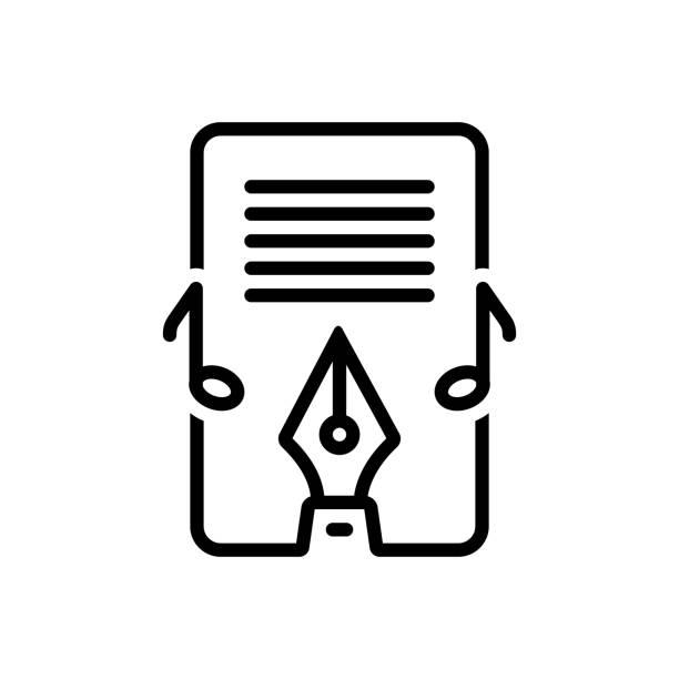 Lyric studio Icon for lyric, studio, writing, music, playlist, musical, technology lyric stock illustrations
