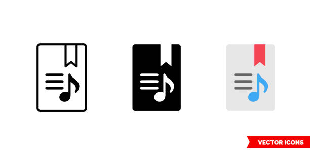 Lyrics icon of 3 types color, black and white, outline. Isolated vector sign symbol Lyrics icon of 3 types. Isolated vector sign symbol. lyric stock illustrations