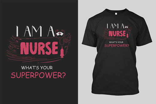 I'm a nurse what's your superpower t-shirt design with line art vector