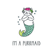 Doodle vector illustration of cute cat mermaid. Can be used for t-short print, poster or card