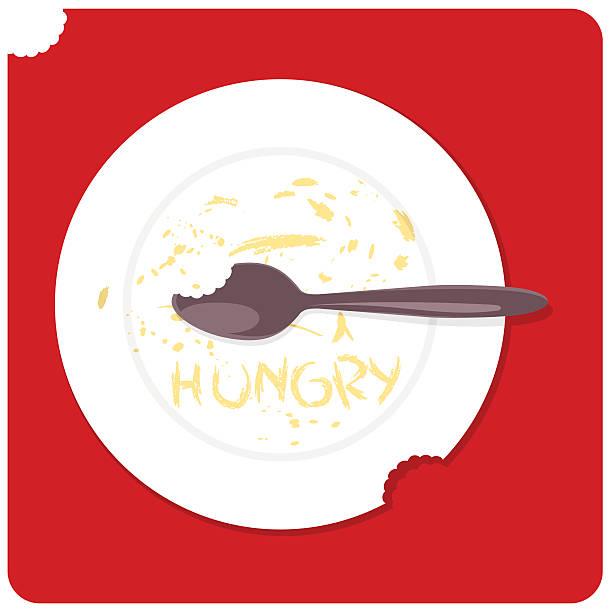 bildbanksillustrationer, clip art samt tecknat material och ikoner med i´m hungry - tallrik uppätet