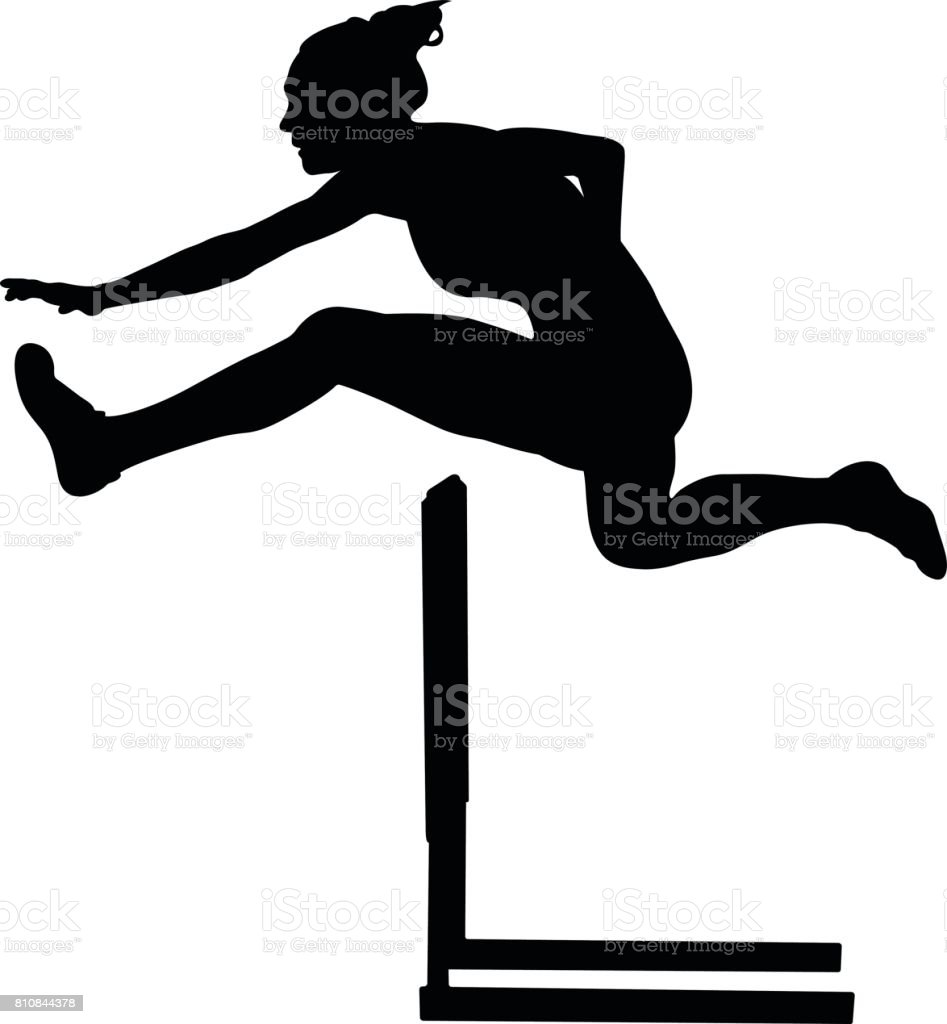 100 m hurdles woman vector art illustration