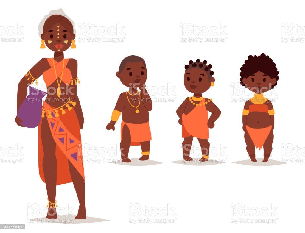 マサイ族アフリカ人民族衣装幸せな人たちのベクトル イラスト アジア