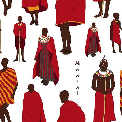 Maasai couple african people pattern