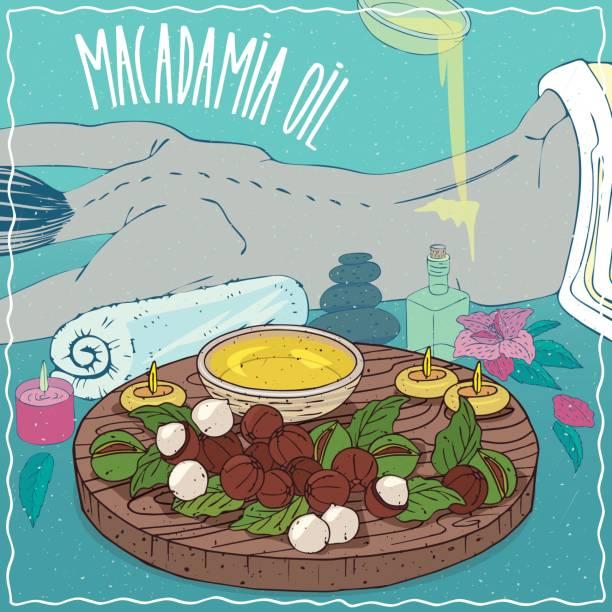 illustrazioni stock, clip art, cartoni animati e icone di tendenza di macadamia oil used for body massage - china drug