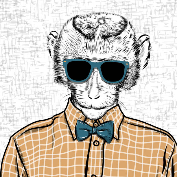 macaque monkey hipster in a shirt , poster hand drawn illustration - plaid shirt stock illustrations