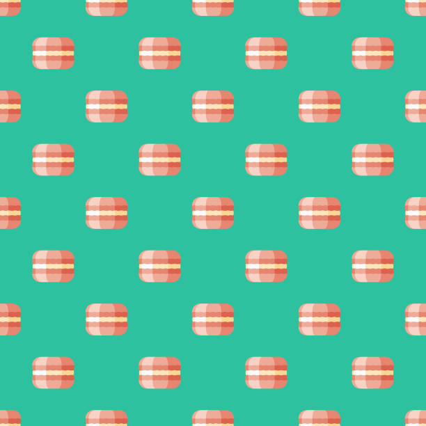 macaron französischen nahtlose muster - französisches essen stock-grafiken, -clipart, -cartoons und -symbole