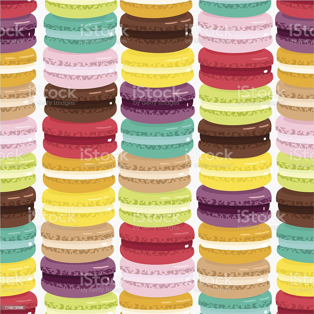 Macaron pattern. French cookie background royalty-free stock vector art
