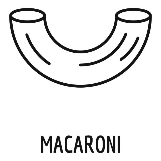 Macaroni icon, outline style Macaroni icon. Outline macaroni vector icon for web design isolated on white background rotelle stock illustrations