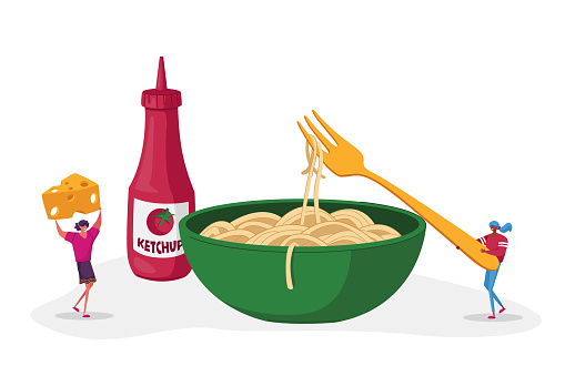 Macaroni Italian Cuisine, Healthy Food. Tiny Female Characters Eating Spaghetti Pasta with Ketchup and Cheese. Huge Sauce Bottle Stand at Plate. Homemade Menu. Cartoon People Vector Illustration